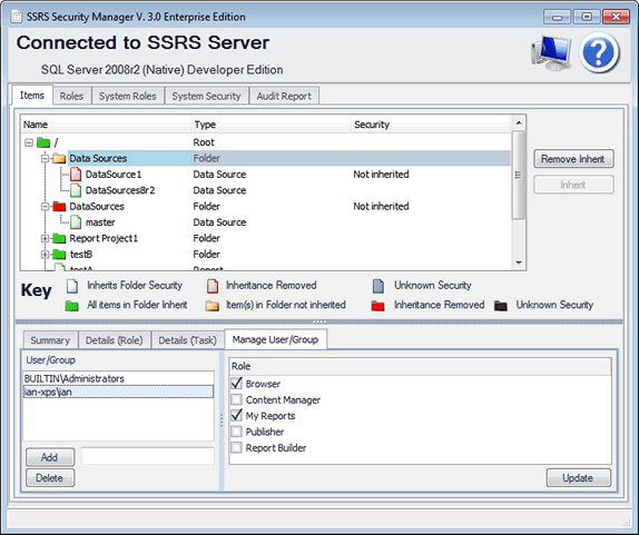 SSRS Security Manager Visualize Security