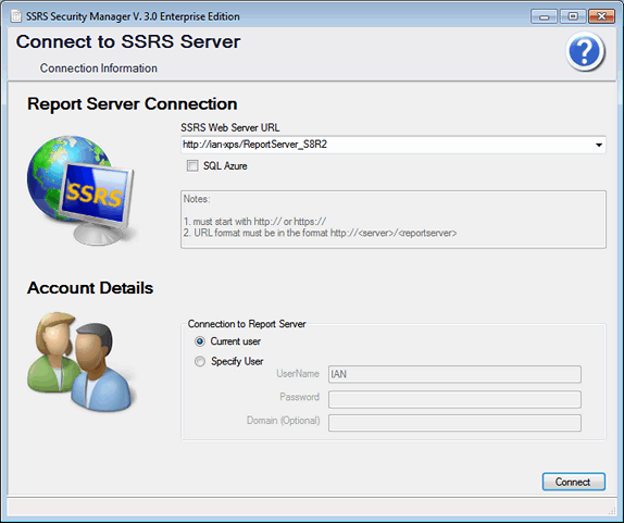 SSRS Security Manager Connection Screen